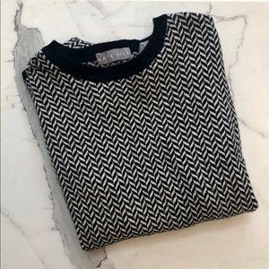 Kate Hill chevron printed black + white sweater